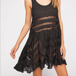 Free People Voile & Lace Trapeze Slip Black XS